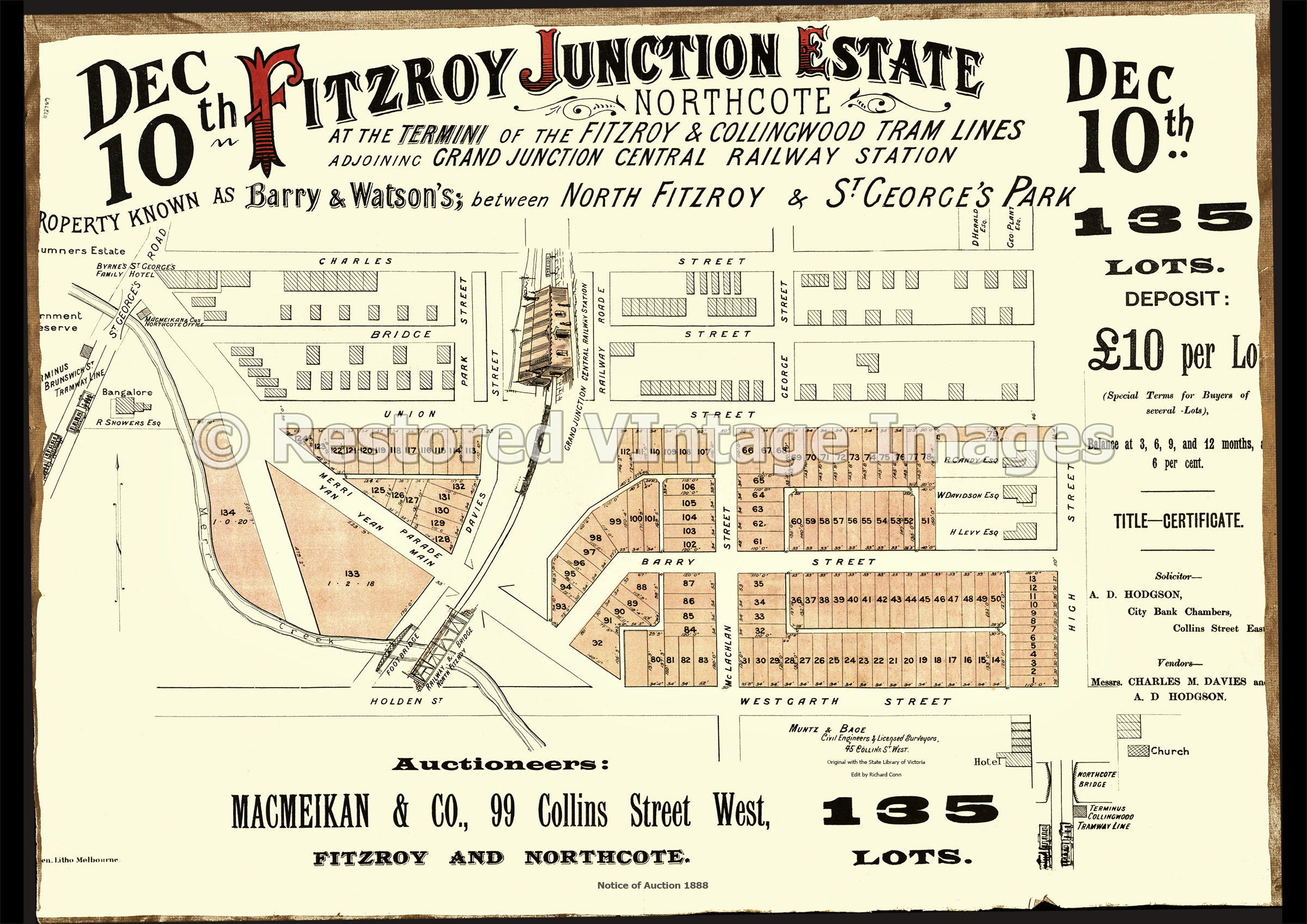 Fitzroy Junction Estate 10th December 1887 – Northcote