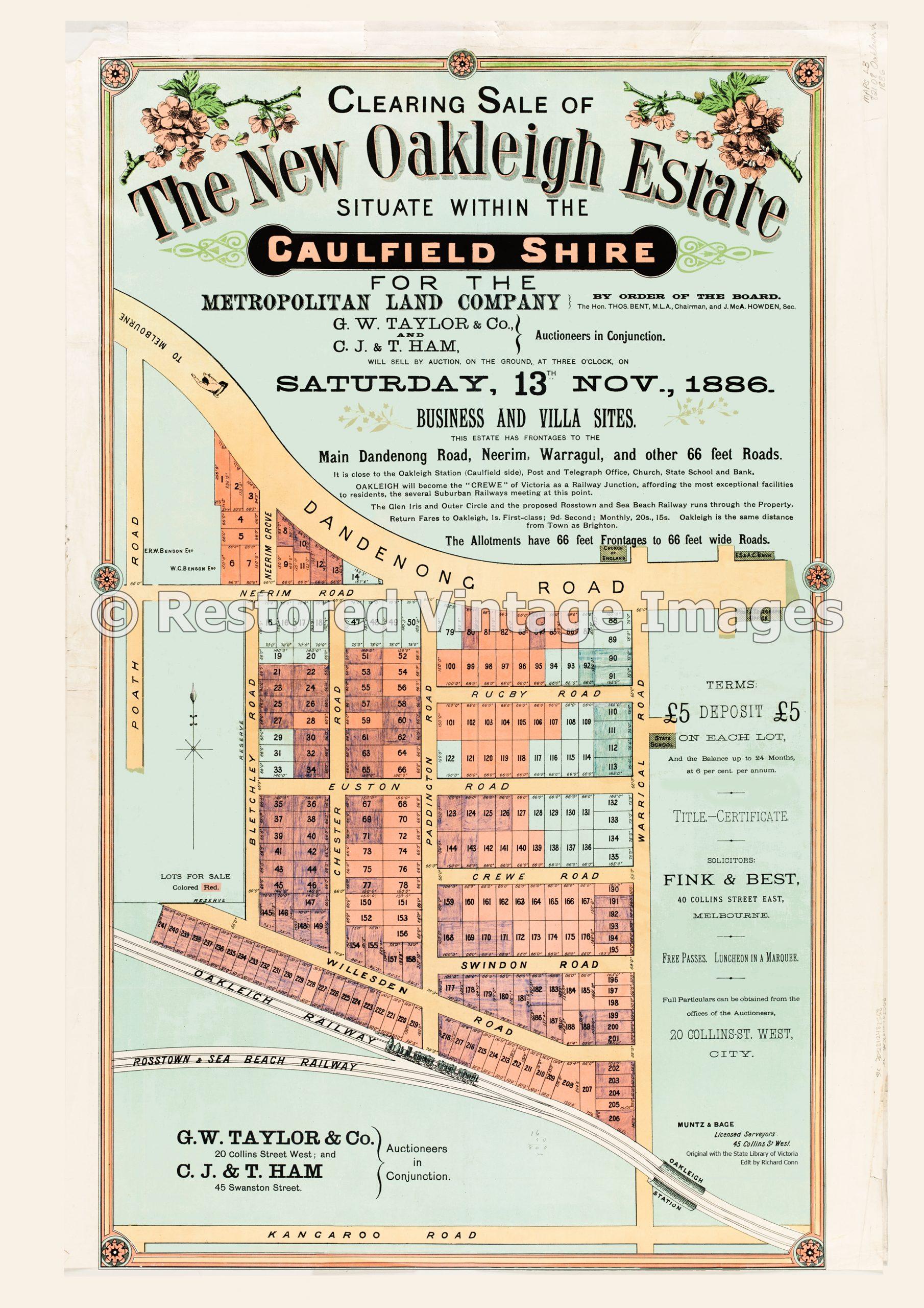 The New Oakleigh Estate 13th November 1886 – Hughesdale