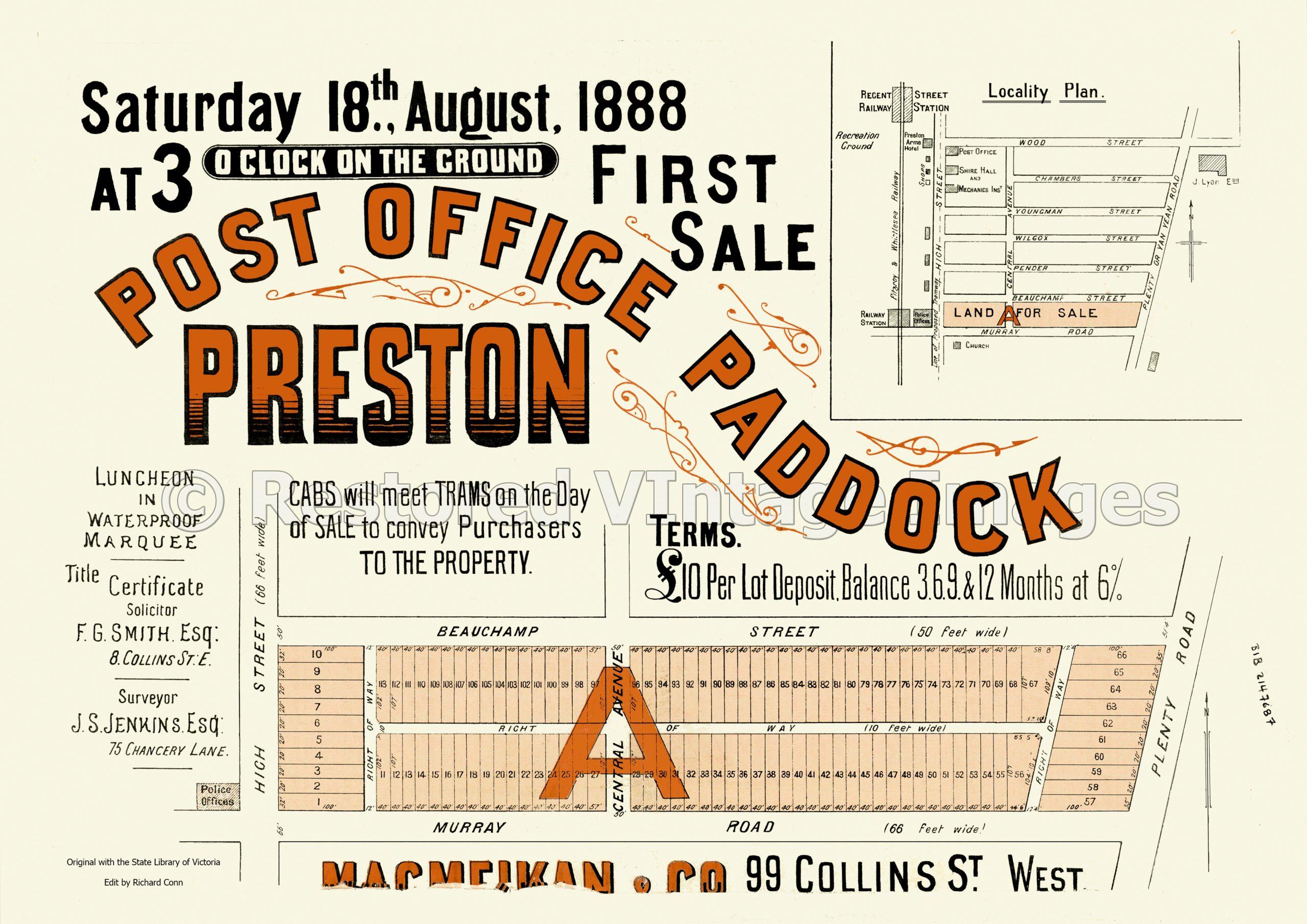 Post Office Paddock First Sale 18th August 1888 – Preston
