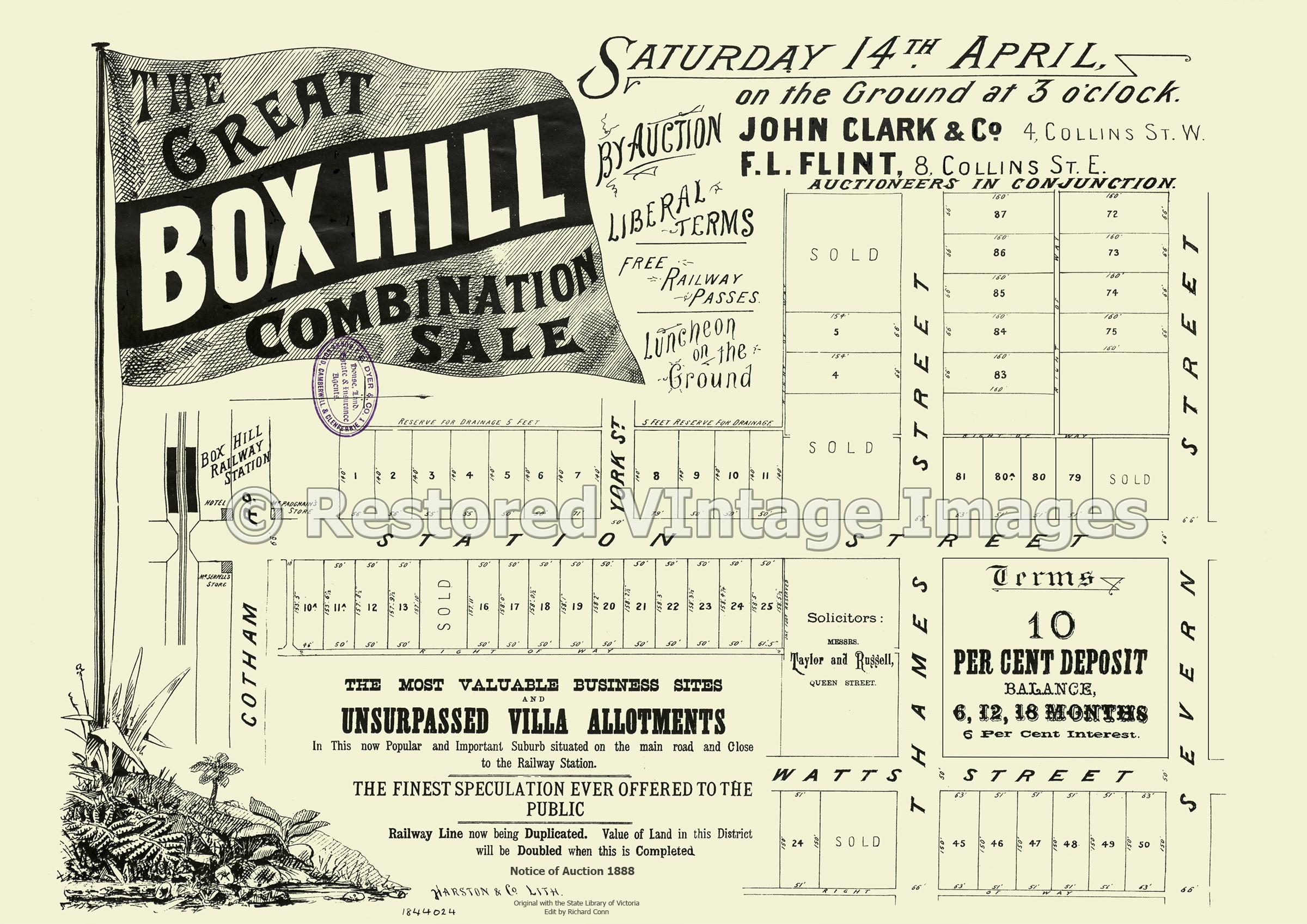 The Great Box Hill Combination Sale 14th April 1888 – Box Hill