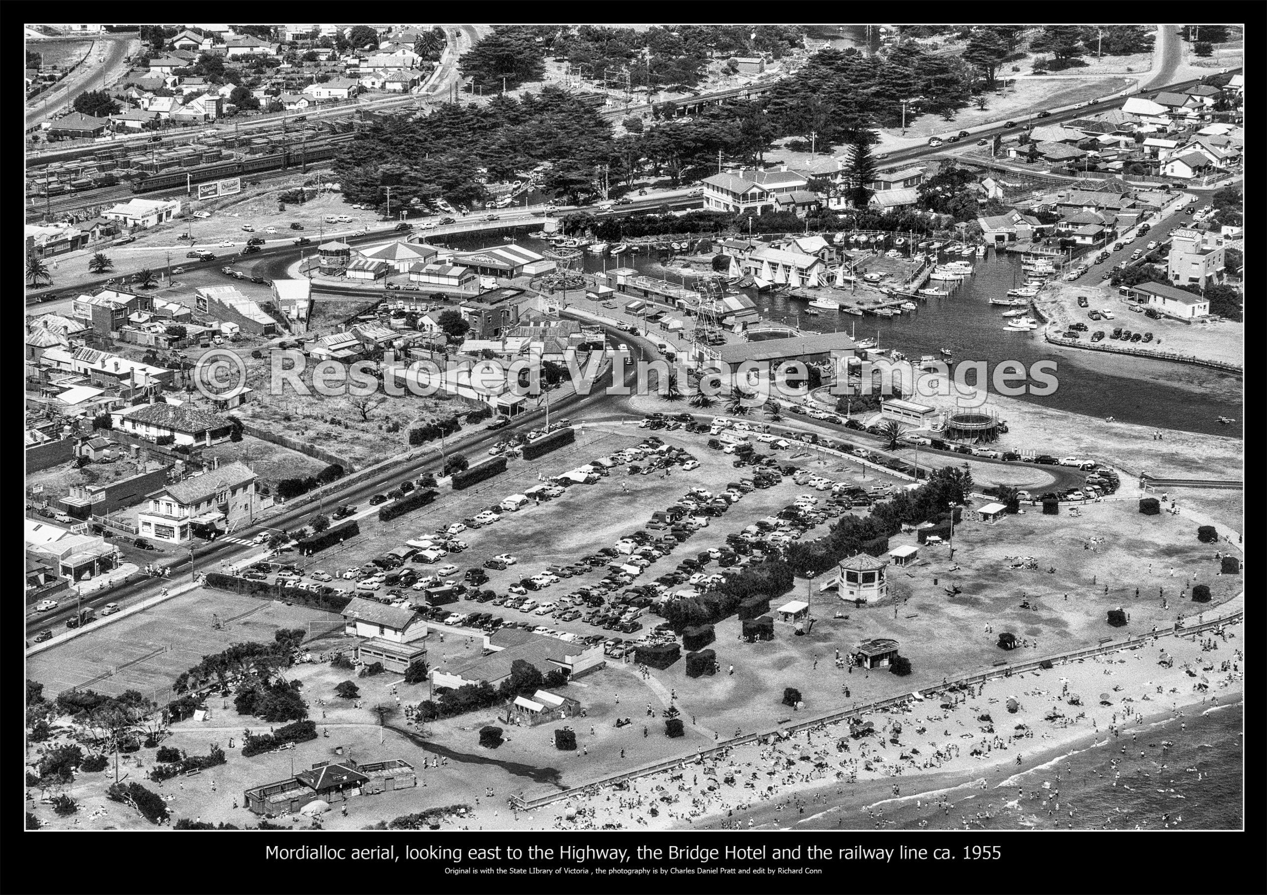 Mordialloc Aerial Looking East To The Highway, Bridge, Railway Line And Hotel Ca 1955