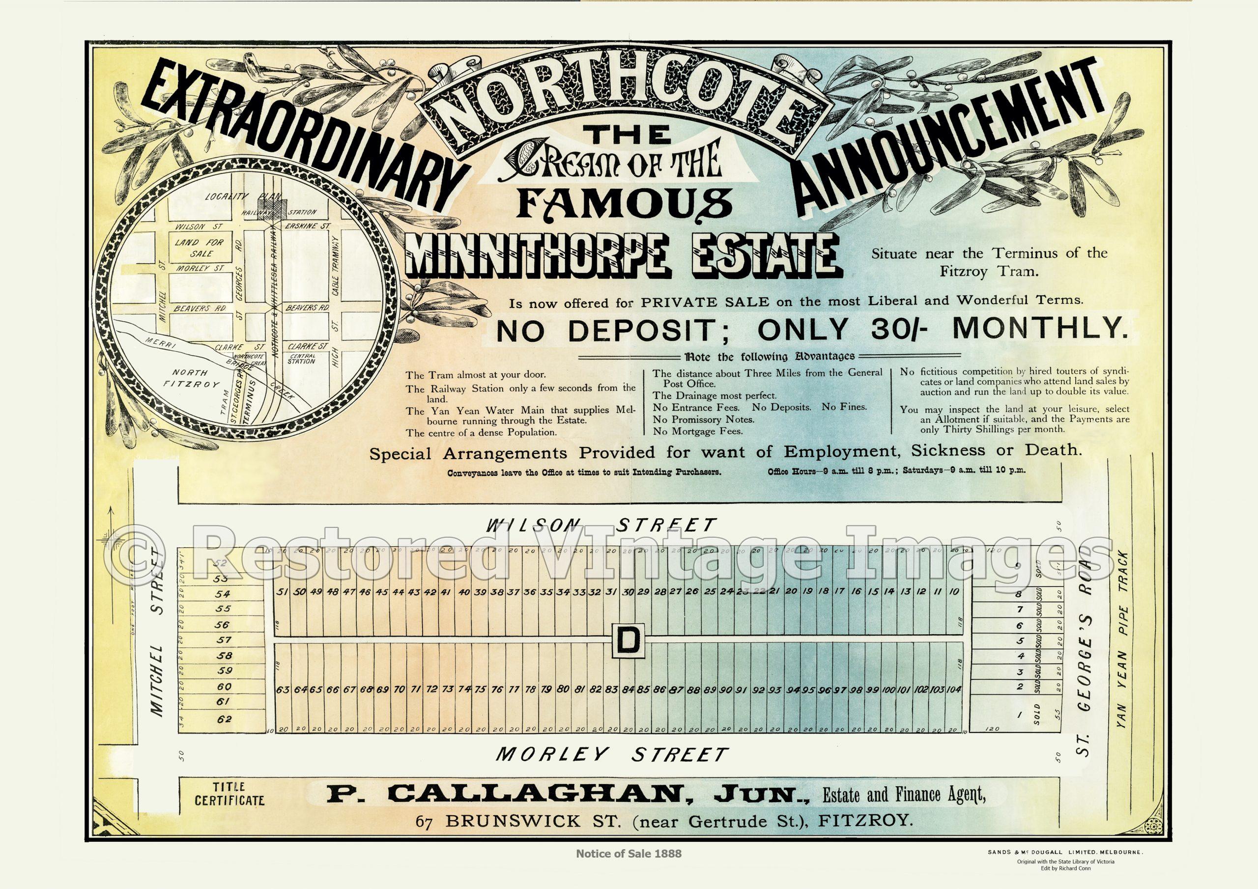Minnithorpe Estate 1888 – Northcote