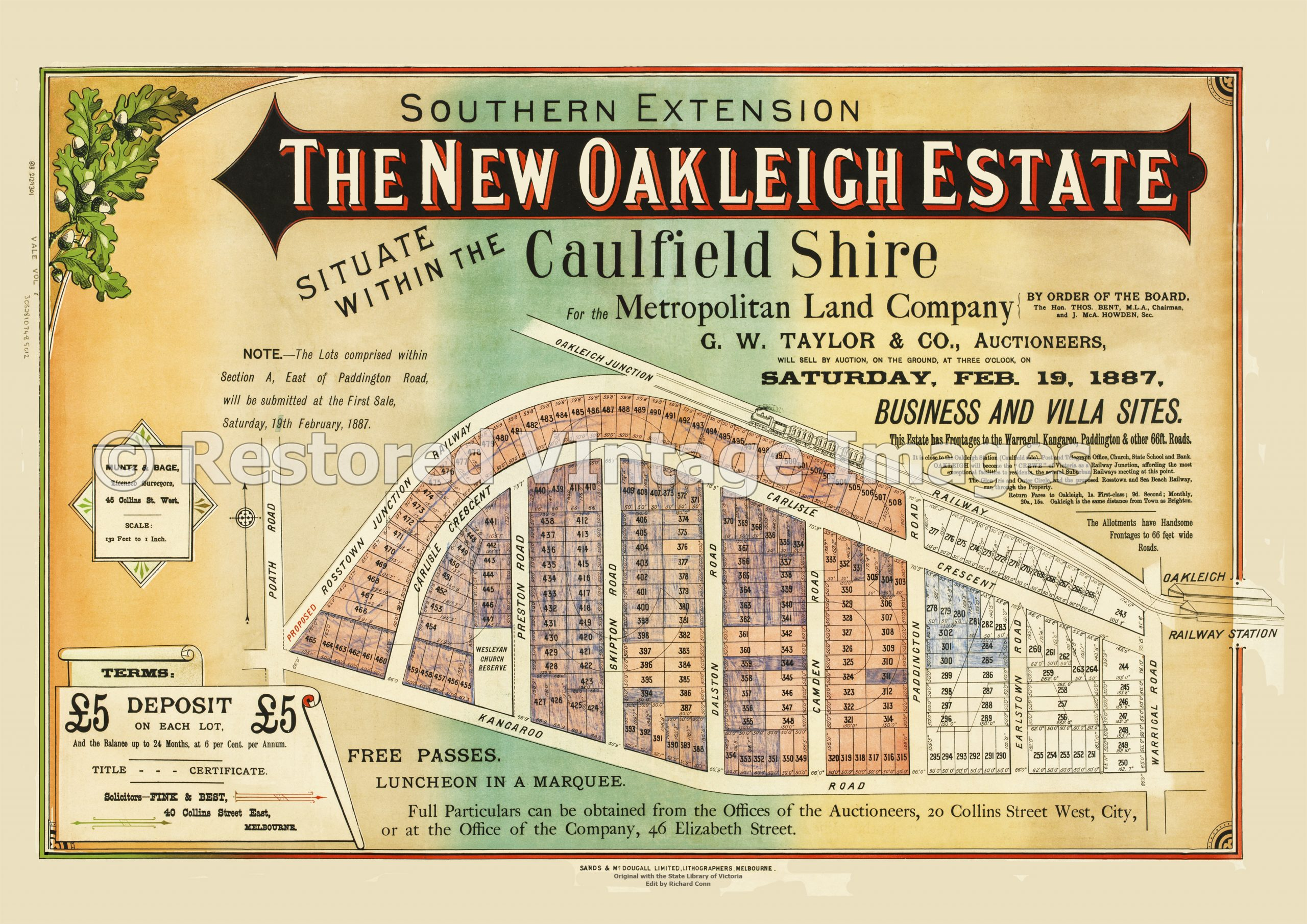 The New Oakleigh Estate Southern Extension 19th February 1887 – Hughesdale