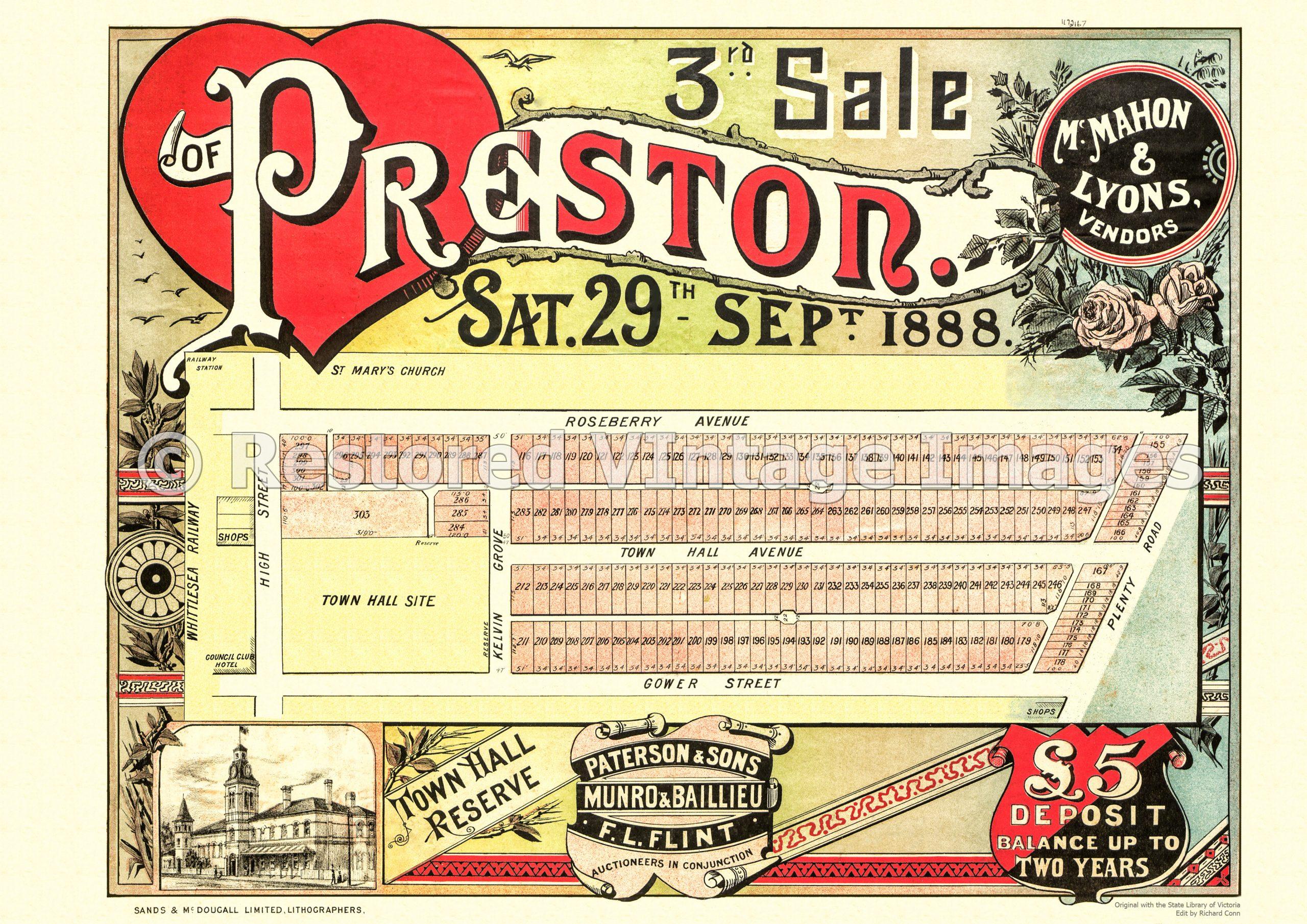 Heart Of Preston 3rd Sale 29th September 1888 – Preston