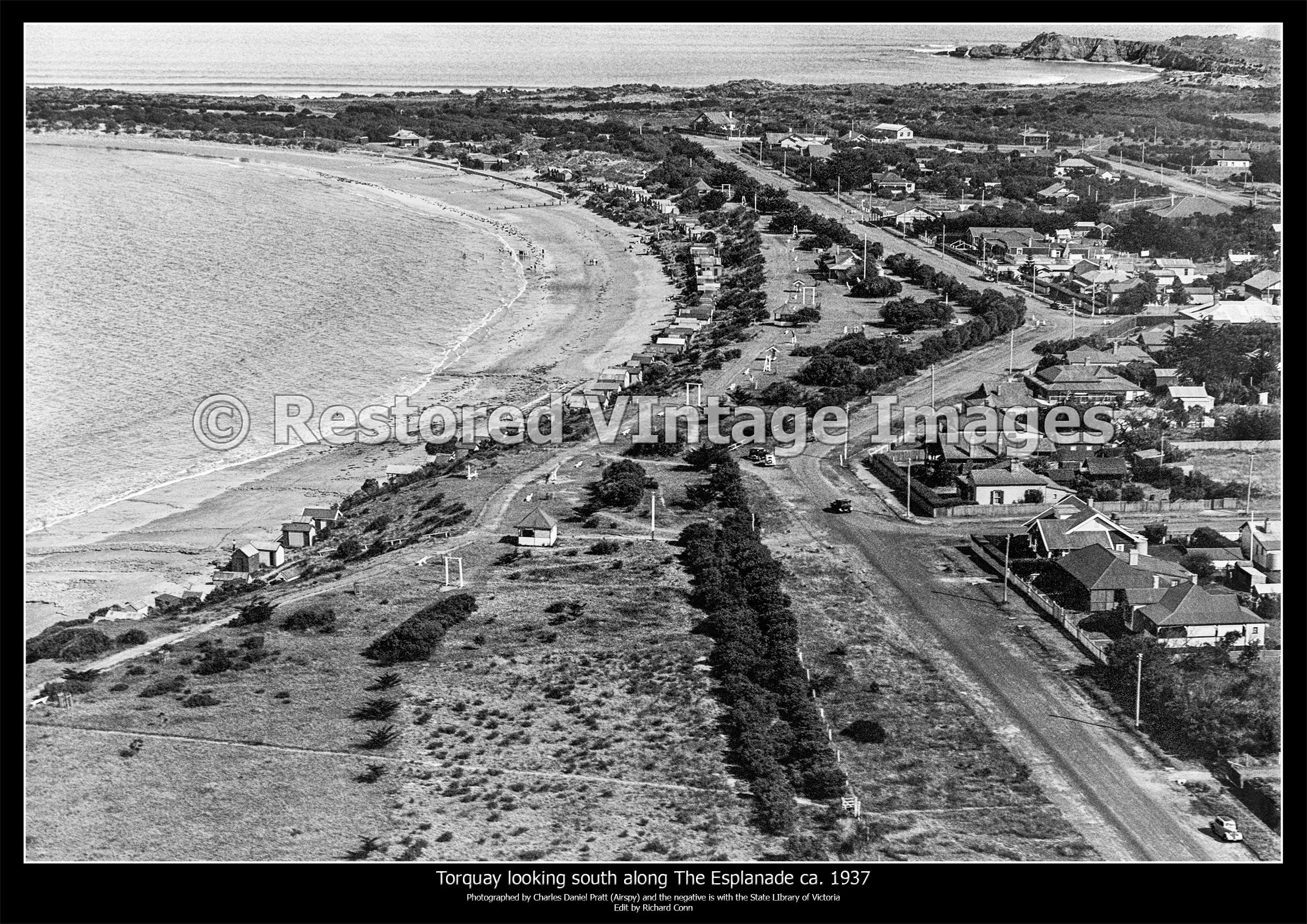 Torquay Aerial Looking South Along The Esplanade Ca. 1937