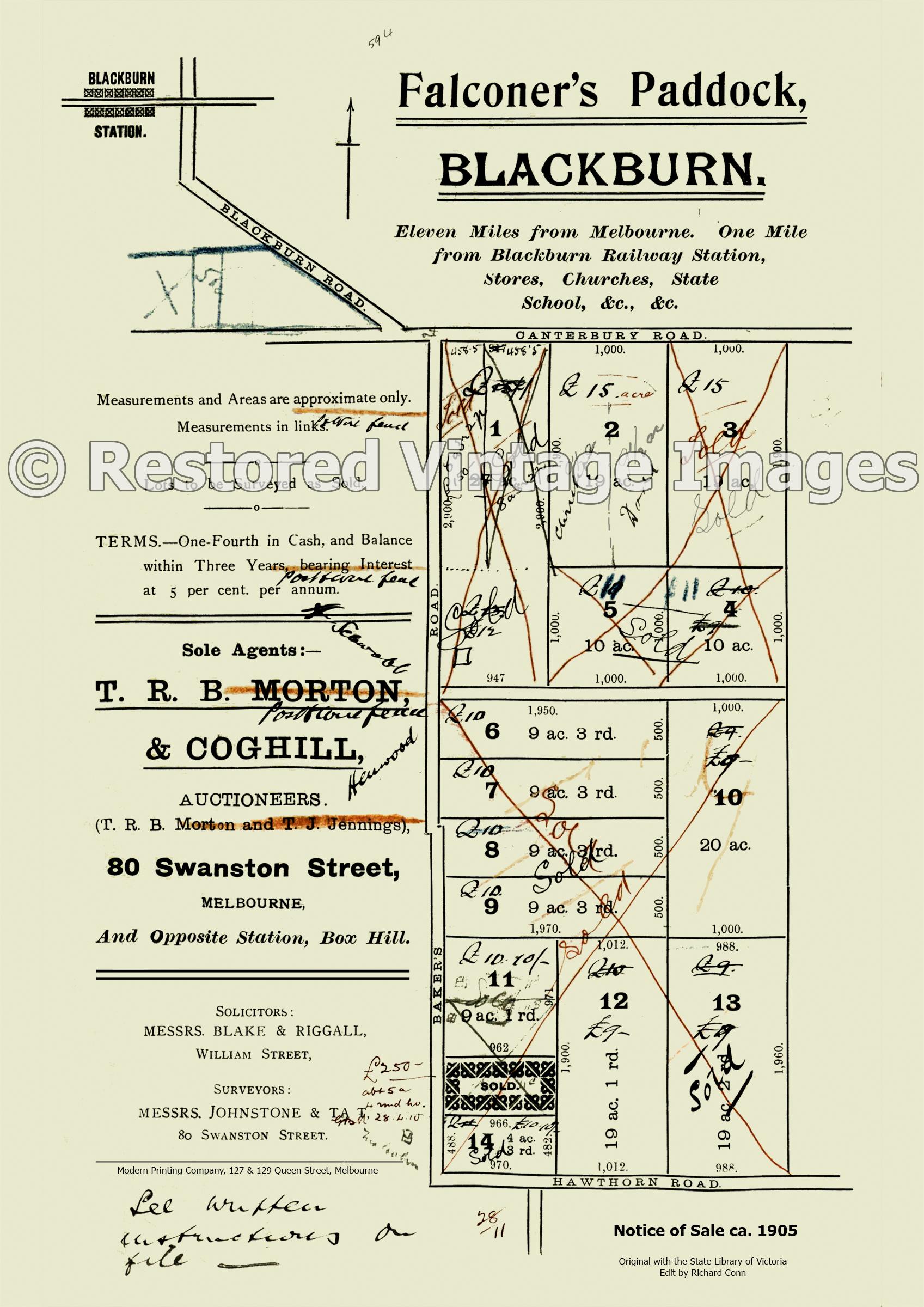 Falconer's Paddock 1905 – Blackburn South