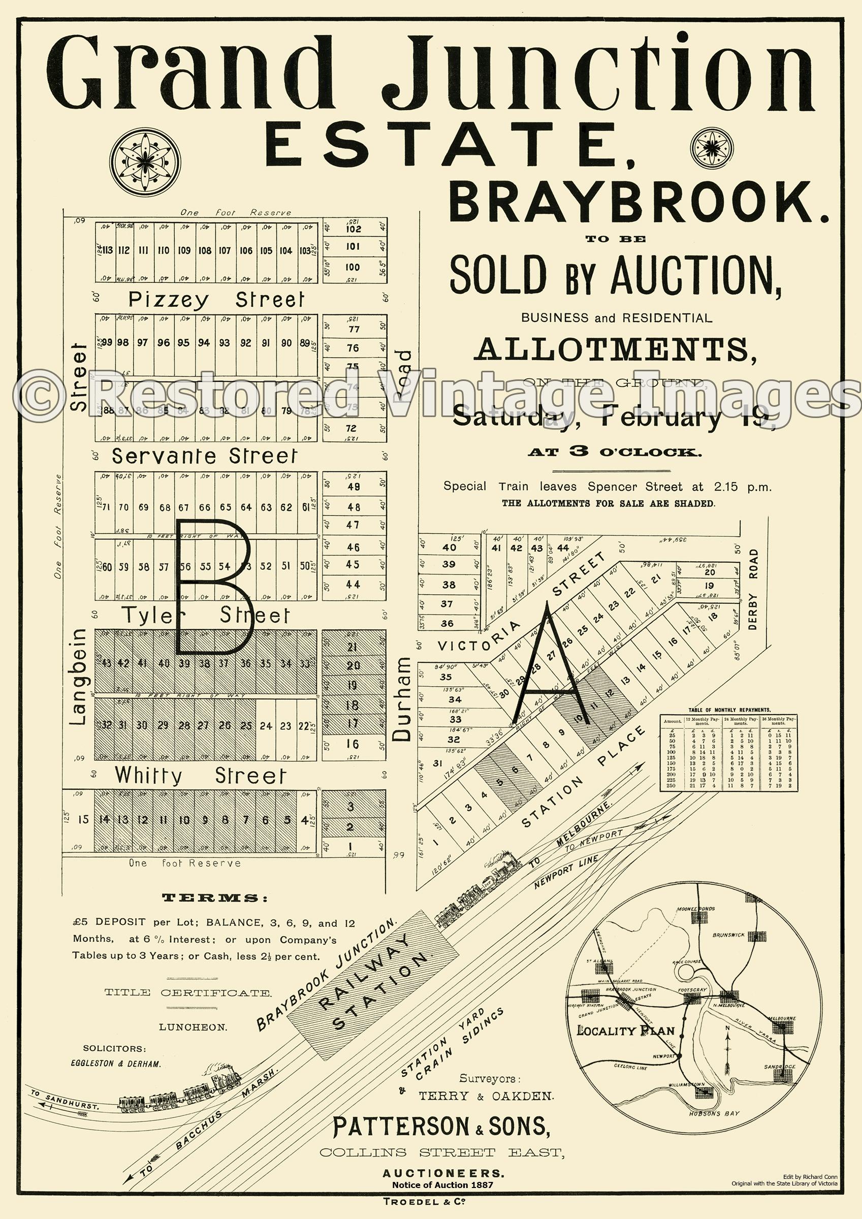 Grand Junction Estate Braybrook 19th November 1887 – Sunshine