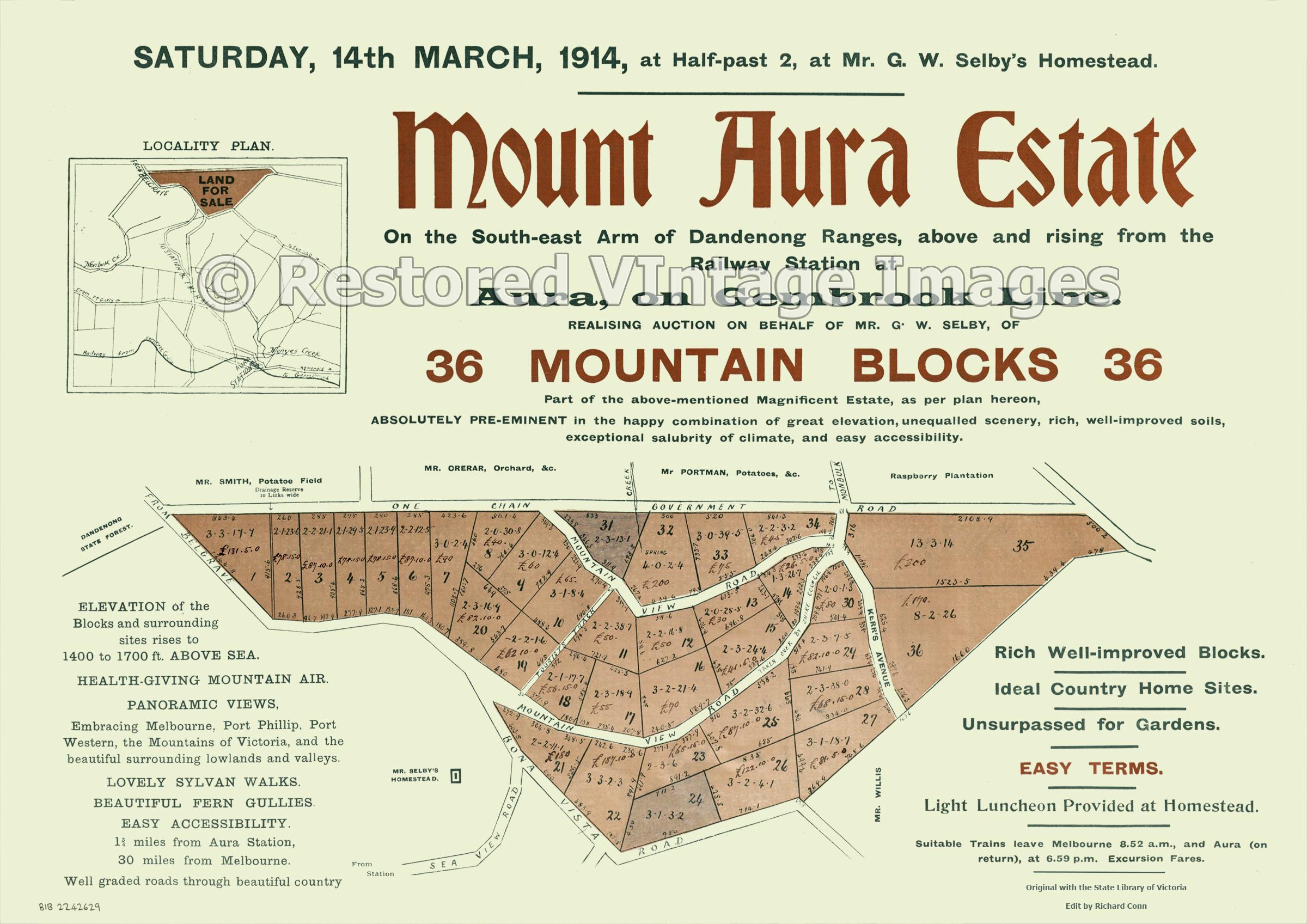 Mount Aura Estate, 14th April 1914 – Selby