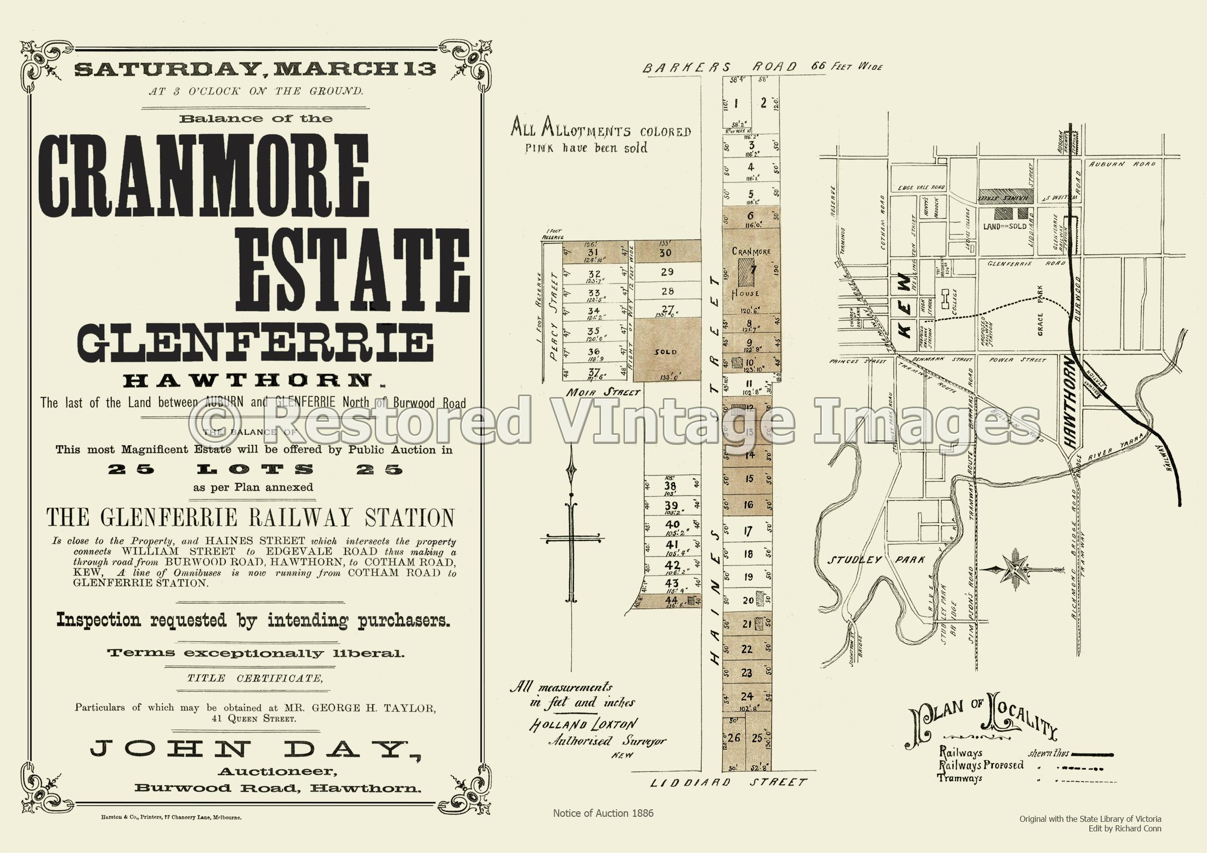 Cranmore Estate Glenferrie 13th March 1886 – Hawthorn
