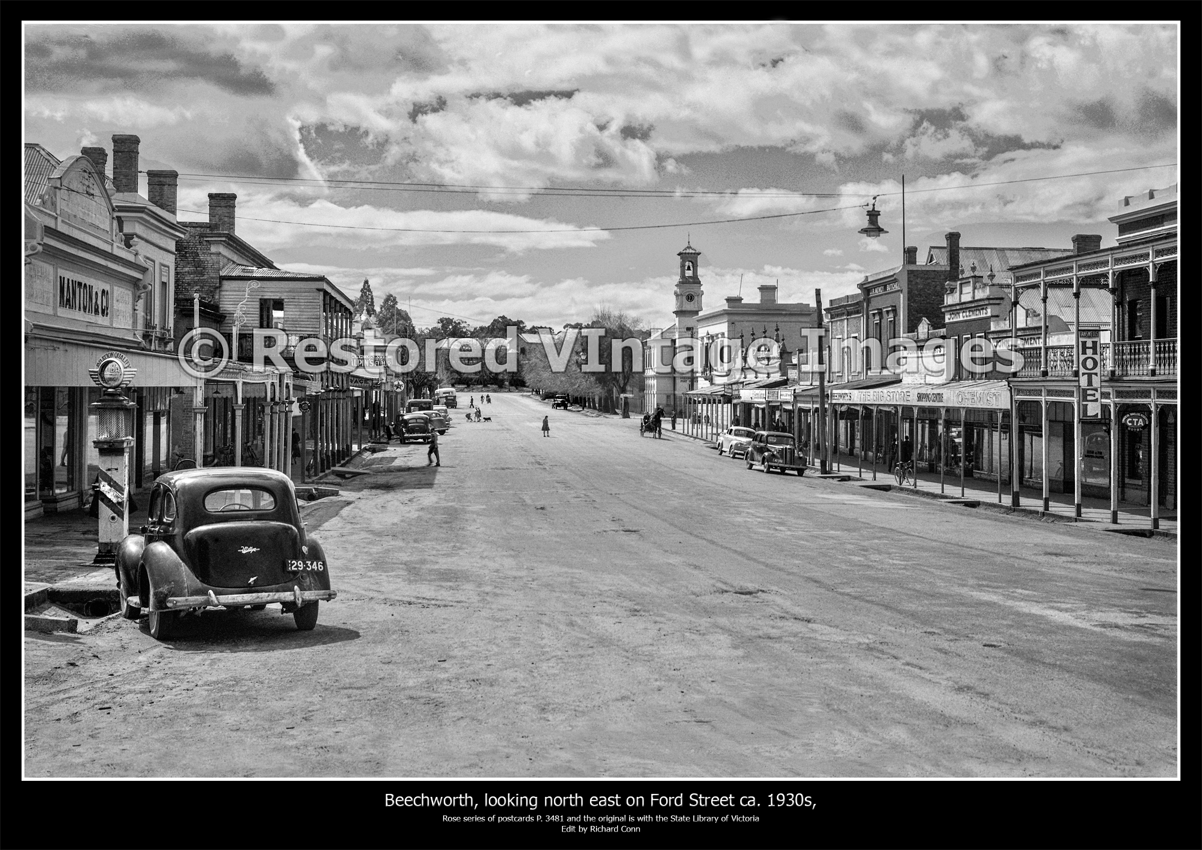 Beechworth, Looking North East On Ford Street Ca. 1930s