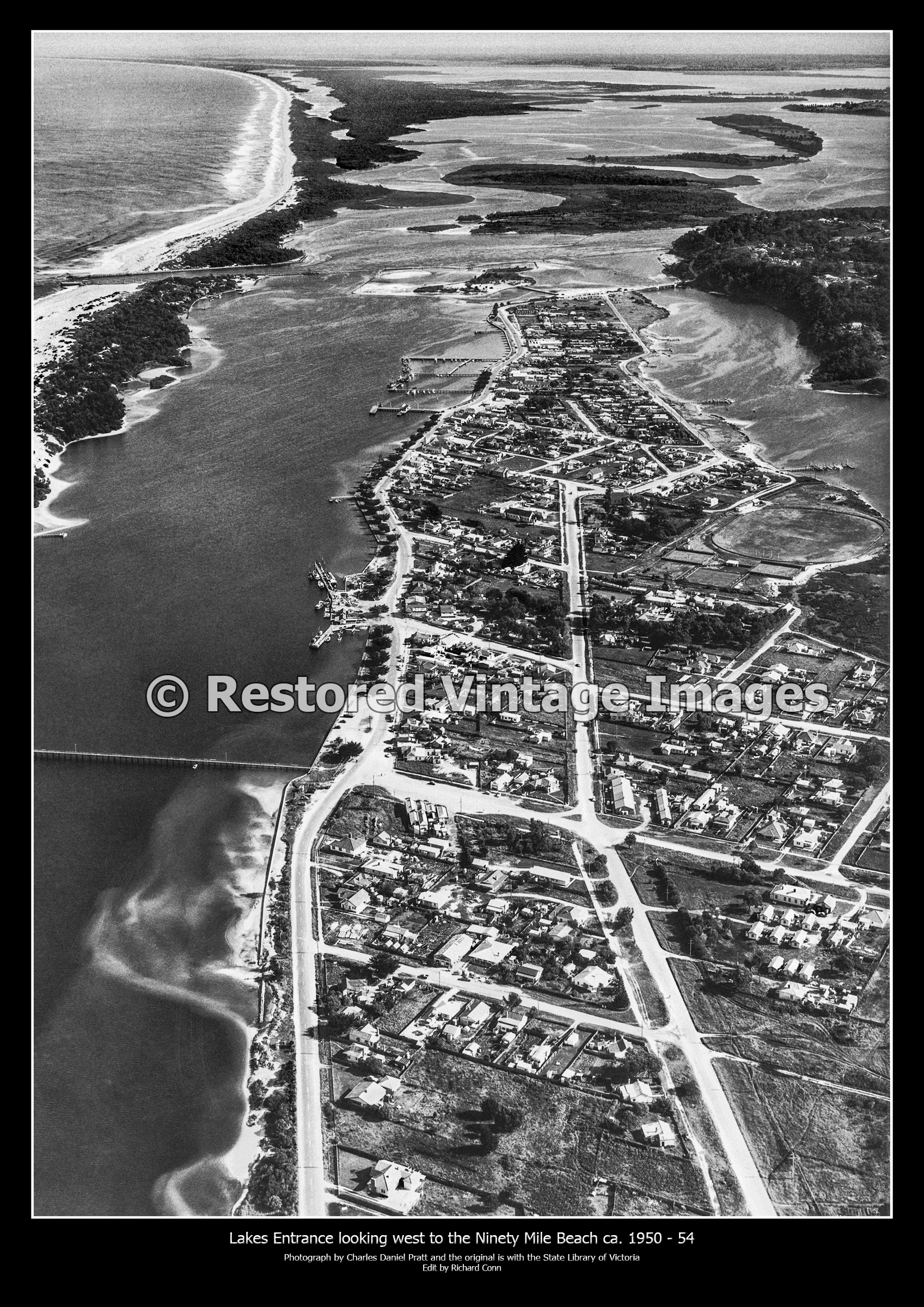 Lakes Entrance Looking West To The Ninety Mile Beach Ca. 1950 – 54