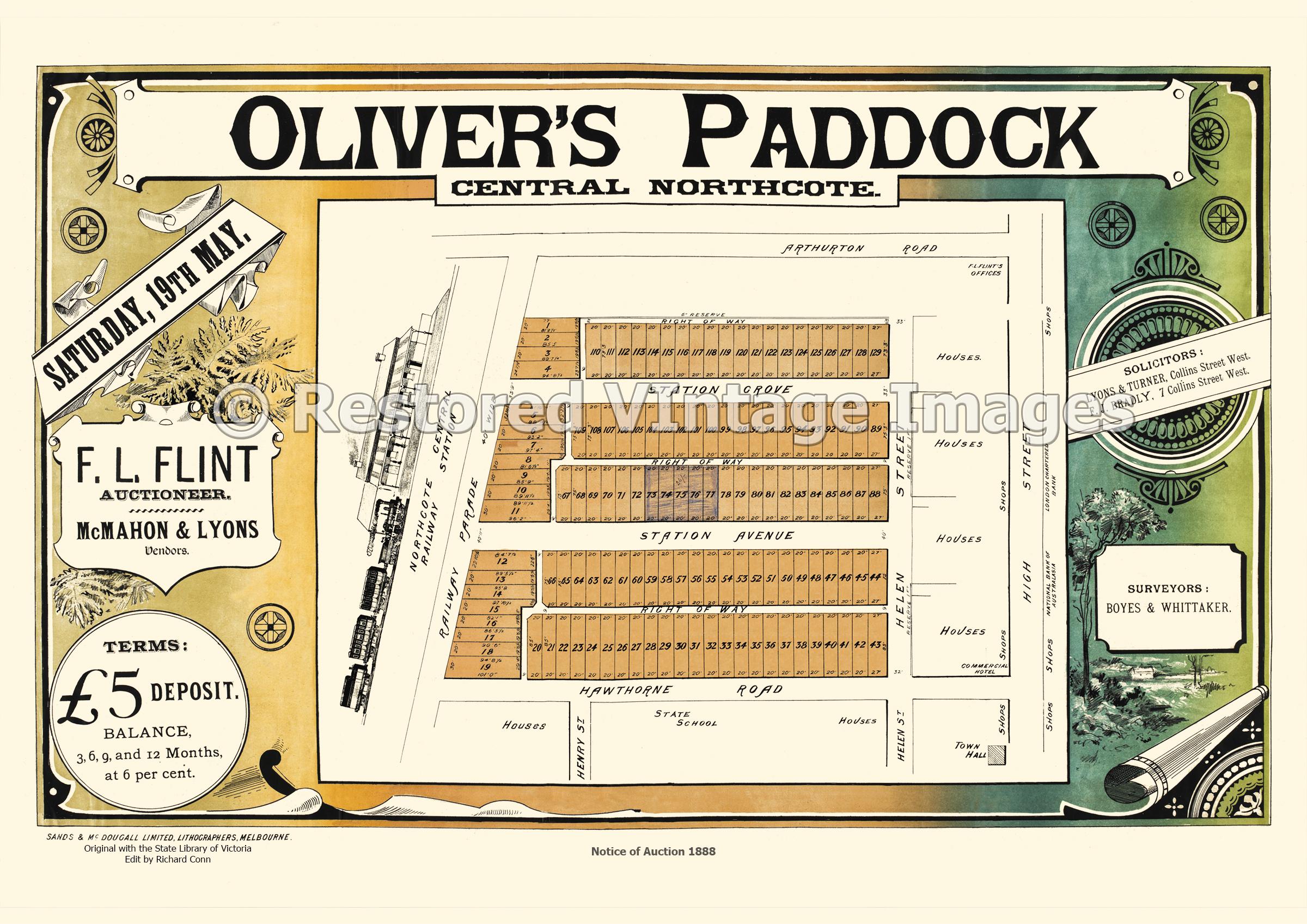Oliver's Paddock Central Northcote 1888 – Northcote