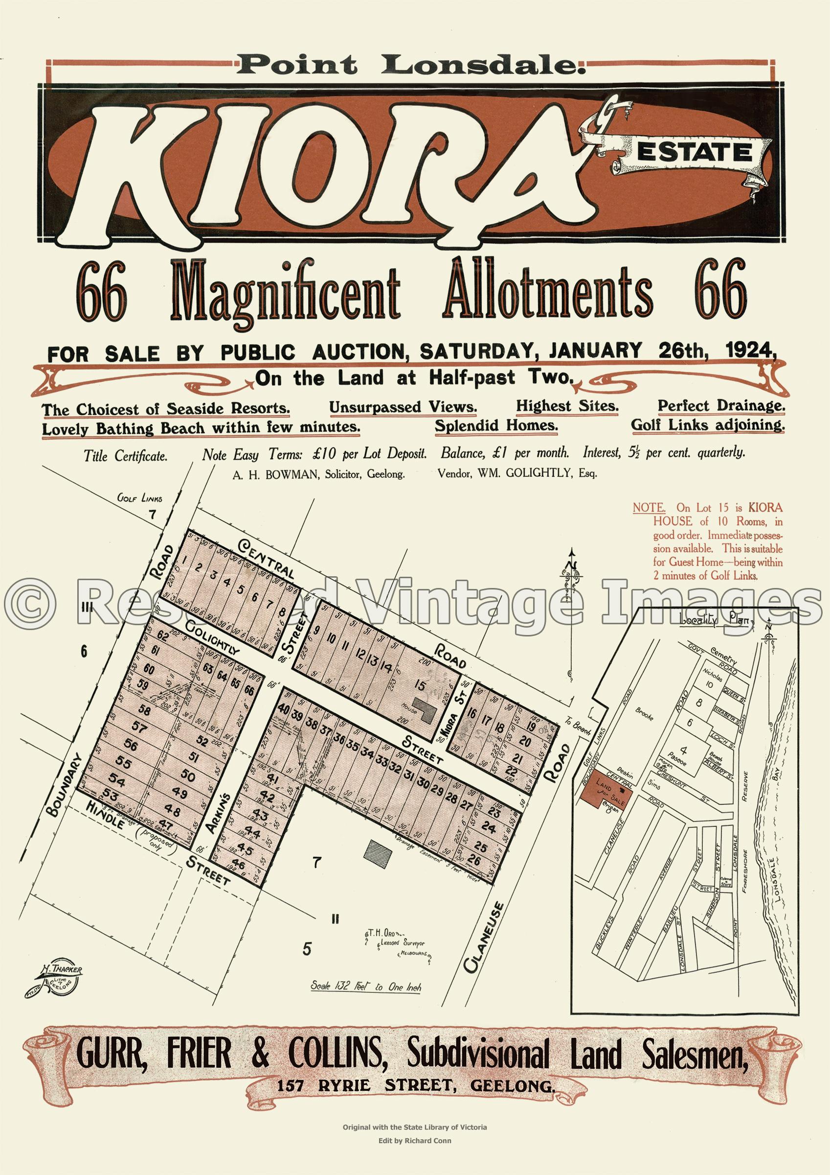 Kiora Estate 26th January 1924 – Point Lonsdale