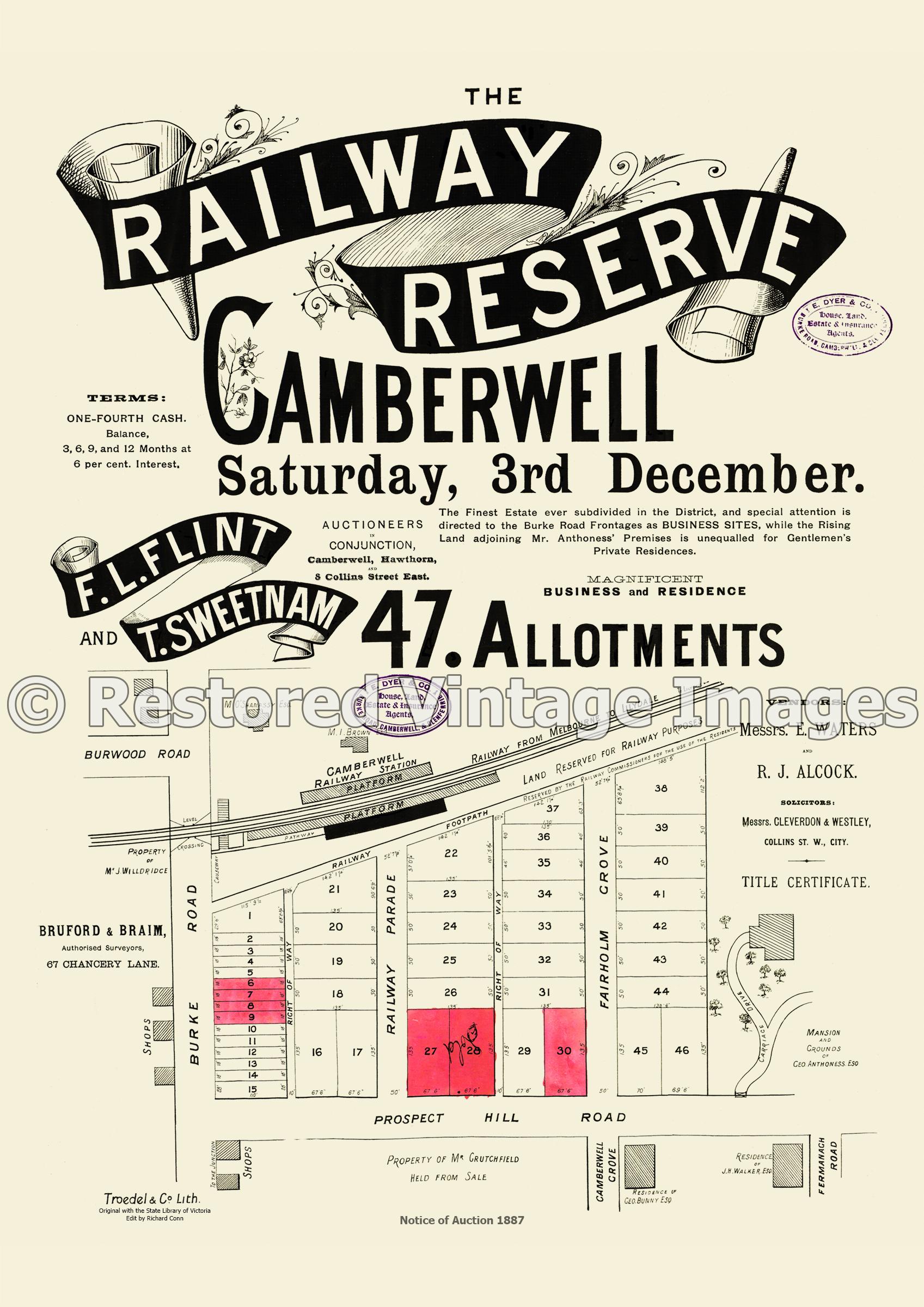 Railway Reserve Estate 3rd Of December 1887 – Camberwell