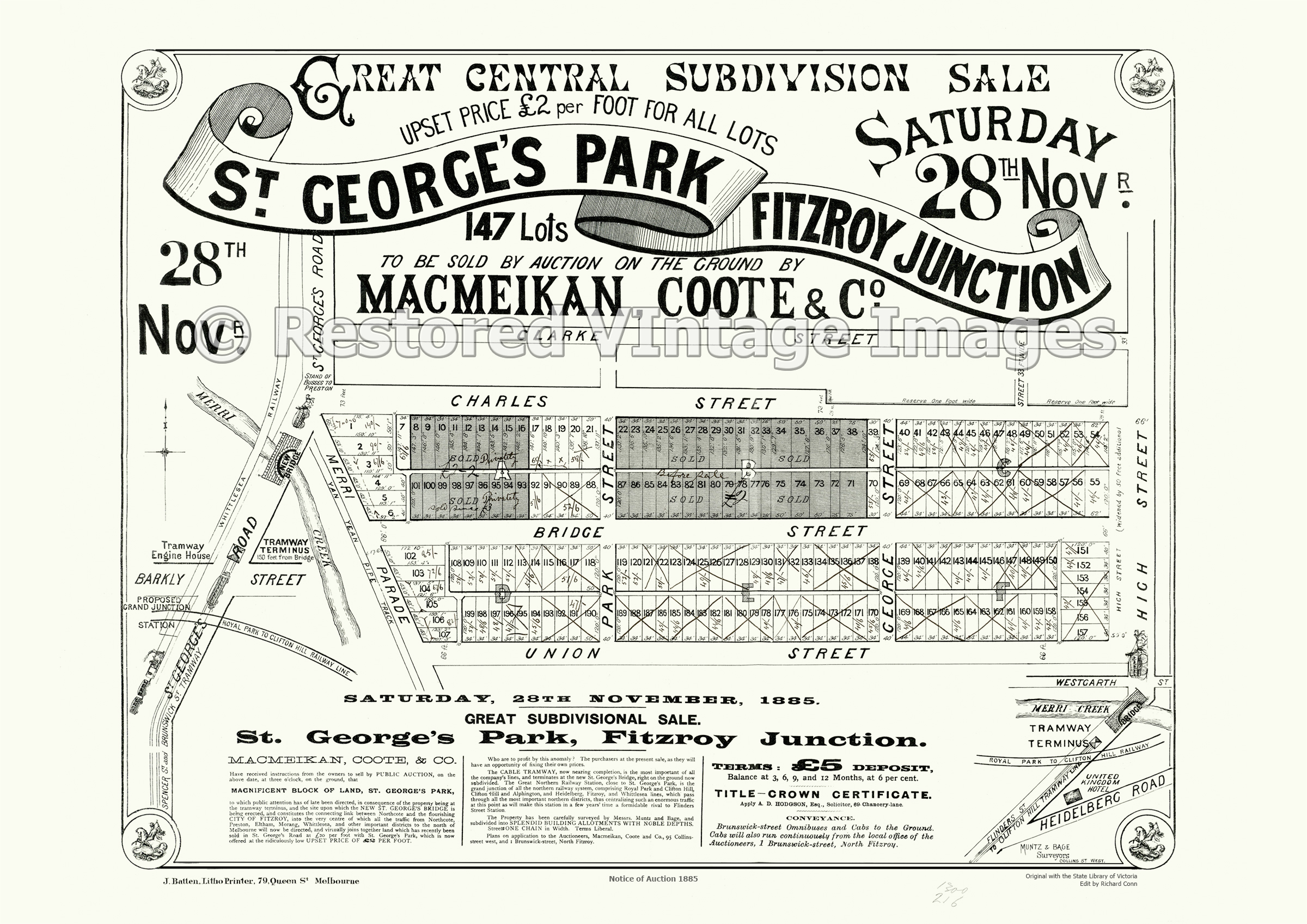 St. George's Park Estate Fitzroy Junction 28th November 1885 – Northcote