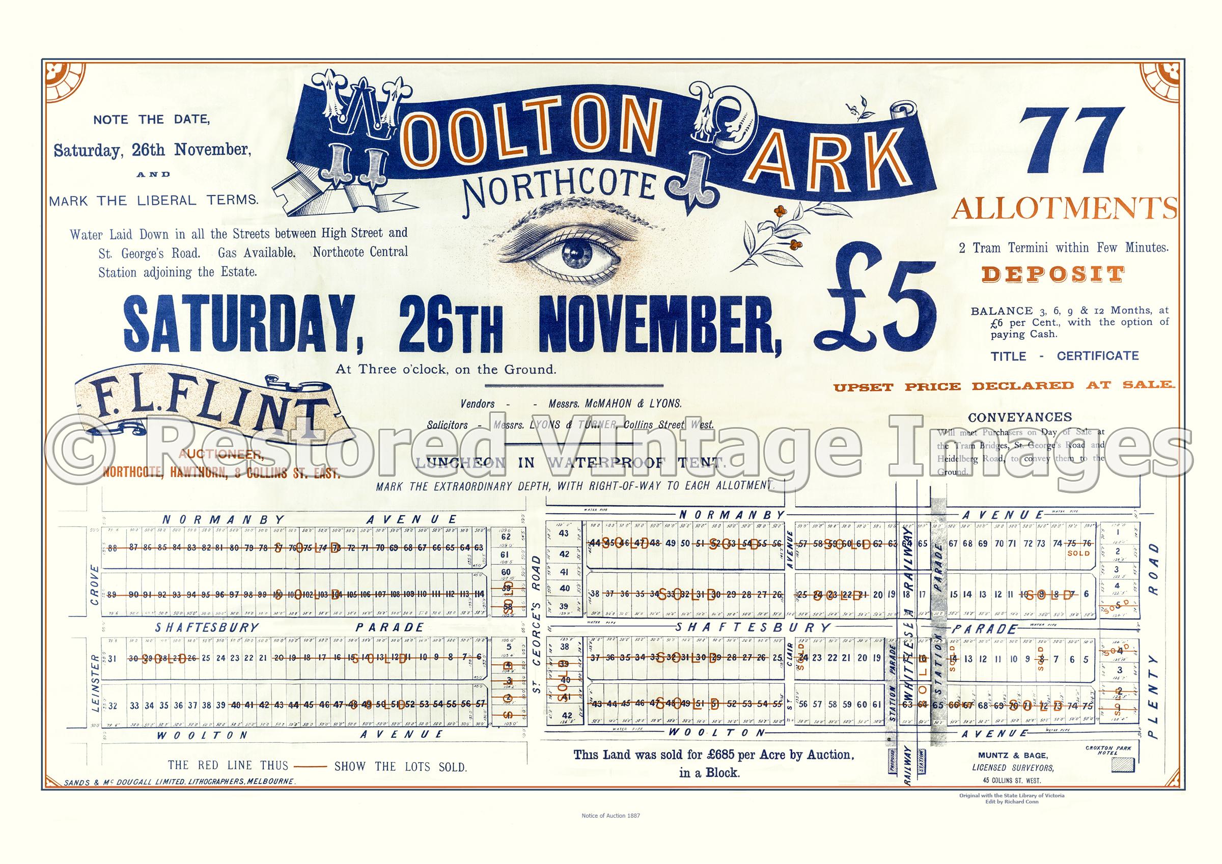 Woolton Park Northcote 26th November 1887 – Northcote